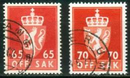 Norwegen  1962-69  Dienstmarken - Staatswappen  (2 Gest. (used))  Mi: 90, 92 (0,40 EUR) - Service