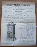 """Brochure """"Chauffage, Fabrik Von Gasapparaten, Oscar Winter, Hannover 1907 - Vieux Papiers"""