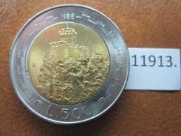 San Marino 500 Liras 1988 , Bimetalica - San Marino