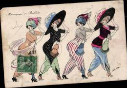 CARTE ILLUSTREE PAR XAVIER SAGER - MANNEQUINS EN BALLADE - Illustrators & Photographers