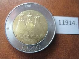 San Marino 500 Liras 1987 , Bimetalica - San Marino