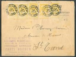 """N°54(5) - 2 Centimes Jaune (paire + 3 Ex. Dont 1 Avec Variété """"cadre Brisé"""") Obl. Sc BRUXELLES 5 S/Lettre Du 16 Septembr - 1893-1800 Fijne Baard"""