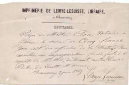 Beauraing - 1867 - Imprimerie De Lemye-Lesuisse - 2 Documents - Imprimerie & Papeterie