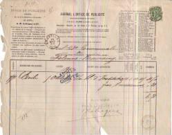 Felenne-Beauraing - 1879 - Journal L'Office De Publicité - Printing & Stationeries