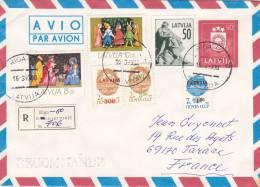 LETTRE RECOM LETTONIE, 1993 RIGA Pour La FRANCE,  NOEL /2696 - Lettonie