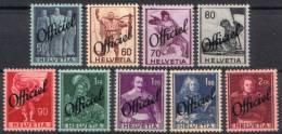 OFFICIEL Zu 55-63 / Mi 55-63 / YT 194-202 * / MH SBK ** 88,- CHF Voir Description - Dienstzegels