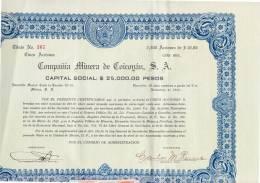 O) 1942 MEXICO,STOCK OF FIVE ACTIONS, COICOYáN MINING COMPANY - Shareholdings