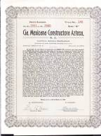 O) 1949 MEXICO, TWENTY STOCK, CIA MEXICANA CONSTRUCTORA AZTECA S.A, - Other