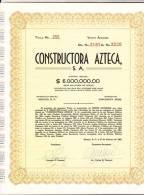 O) 1962 MEXICO, STOCK TWENTY -255, CONSTRUCTORA AZTECA S.A.- - Shareholdings