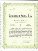 O) 1960 MEXICO, STOCK ONE, CONSTRUCTORA AZTECA S.A. - Altri