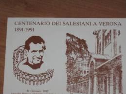 VERONA  31.01.1992 - CENTENARIO DEI SALESIANI A VERONA -  TIMBRO SPECIALE - MARCOFILIA - Verona