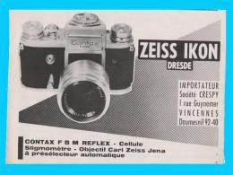 1959 Publicité Papier...ZEISS IKON DRESDE CONTAX F B M REFLEX  ..ref .89 - Publicidad