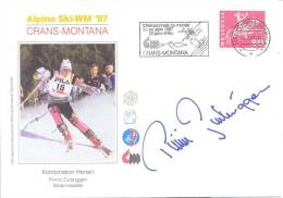 Switzerland Alpine Ski World Championship Crans-Montana 1987; Slogan; Autograph; Pirmin Zurbriggen - Combined Silver - Ski