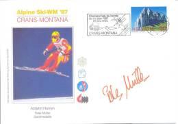 Switzerland Alpine Ski World Championship Crans-Montana 1987; Slogan; Autograph; Peter Müller - Downhill Gold Medal - Ski