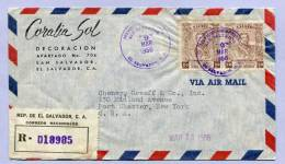 Air Mail Registered Letter EL SALVADOR San SALVADOR To NEW YORK 1956 (843) - El Salvador