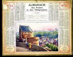 Calendrier 1932 Fougères Ille Et Vilaine Sur Les Remparts - Calendars