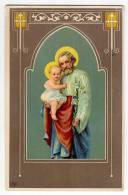 CHRISTIANITY SAINTS BABY JESUS AND JOSEPH SECESSION ATR DECO OLD POSTCARD 1911. - Saints