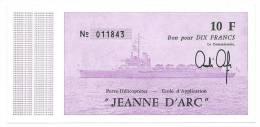 11950 - BILLET DE BORD PH JEANNE D'ARC - MARINE NATIONALE (NEUF- Année 1980 1981) - Fictifs & Spécimens