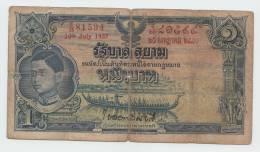 Thailand 1 Baht 1937 G-VG P 26 Signature 15 - Thailand