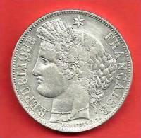 RARE , 5 Frs CERES , 1850 A , Métal: ARGENT , N° Franc: 327-4 , TTB+/SUP - J. 5 Francs