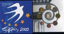 Grèce Greece Coffret Officiel BU 1 Cent à 10 Euro 2003 Argent Présidence De L'Union Européenne - Grèce