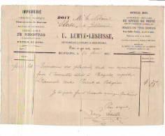 Beauraing - 1876 - 5 Documents - U. Lemye-Lesuisse - Imprimeur-libraire - Notaire Close - Printing & Stationeries