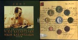 Grèce Greece Coffret Officiel BU 1 Cent à 10 Euro 2007 Argent Nikos Kazantzakis Zorba - Grèce