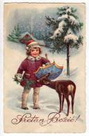 CHRISTMAS CHILDREN GIRL UMBRELLA DEER SNOW L&P Nr. 2138 OLD POSTCARD 1934. - Christmas