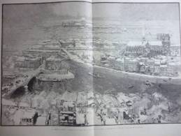 La Neige A Paris , Matinée Du 1er Mars 1890 , Vue Prise De La Tour Saint Gervais , Gravure Et Dessin De Lepére 1890 - Documenti Storici