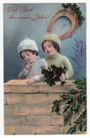NEW YEAR CHILDREN TREE HORSESHOE Nr. 392/IV OLD POSTCARD 1916. - New Year