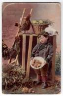 EASTER CHILDREN BOY CHICKEN NEST Nr. 808 OLD POSTCARD 1909. - Easter