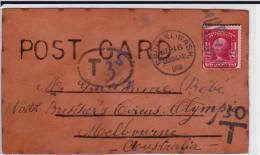 USA - 1908 -  RARE CARTE POSTALE En CUIR (COVER IN LEATHER) Avec TAXE Pour L´AUSTRALIE (MELBOURNE) - Covers & Documents