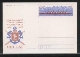 POLAND PC 1978 100 YEARS OF WARSAW ROWING CLUB MINT MERMAID OARS ANCHOR - Postwaardestukken