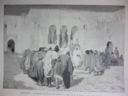 Maroc , La Sortie Du Pacha De Tanger , Gravure Dochy Dessin Bourde 1890 - Documents Historiques