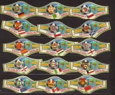 15  SMALL  Cigar Bands  -  Alvaro  -  Espana 1982  -  Mondial De Foot  - All Different - Bagues De Cigares