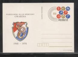 POLAND PC 1978 30 YEARS OF WARSAW GWARDIA SPORTS CLUB MINT MERMAID BOXING JUDO SHOOTING ATHLETICS SOCCER BASKETBALL - Postwaardestukken