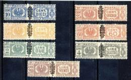 Luogotenenza Pacchi Sassone N. 49, 50, 52, 53, 55, 57, 59 MNH - 5. 1944-46 Lieutenance & Umberto II