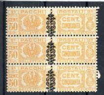Luogotenenza Pacchi Sassone N. 52, Tre In Verticale MNH - 5. 1944-46 Lieutenance & Umberto II