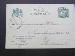 Brfk  G67 2,5 Groen Op Groen Karton;5 Adres Lijnen;des Ver 31mm; Van Uitgeest (kl Rond) Naar Amsterdam  16-05-07 - Ganzsachen