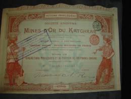 """Titre De 5 Actions Privilégiées Shares """" Mines D'or Du Katchkar """" Russie 1897 Russia Gold Mining - Russie"""