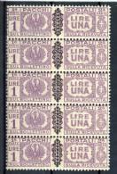 Luogotenenza Pacchi Sassone N. 54 Violetto, Blocco Di 5 In Verticale MNH - 5. 1944-46 Lieutenance & Umberto II