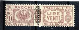 Luogotenenza Pacchi Sassone N. 59 Lire 20 Lilla Bruno MNH - 5. 1944-46 Lieutenance & Umberto II