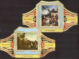 2 Large Cigar Bands -  Baque De Cigare   -  Alvaro  -  Series Painters - Francisco De Goya Y Lucientes - Bauchbinden (Zigarrenringe)