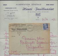 DF / ENVELOPPE ET PAPIER A ENTÊTE / ALIMENTATION ET TORREFACTION DE CAFÉ HENRI FEUILLASSIER GAP HAUTES-ALPES / 1953 - Food