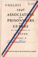 Carte D´Adhérent/Ass. Des Prisonniers De Guerre/ Département De La Seine/ Auberviliers/1946  VP501 - Vecchi Documenti