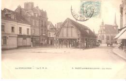 Saint-André-de-L´Eure (Ivry-la-Bataile- Evreux)-+/-1908--Les Halles(Halle)-l´Eglise-At Telages- Cabriolet-Normandie CPA - Ivry-la-Bataille