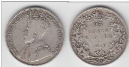 **** CANADA  - 25 CENTS 1919 GEORGE V - SILVER - ARGENT **** EN ACHAT IMMEDIAT !!! - Canada