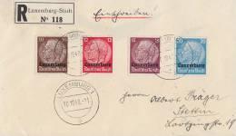 Luxemburg R-Brief Mif Minr.6,7,8,9 Luxemburg 10.10.40 - Besetzungen 1938-45