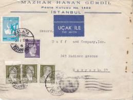 LETTRE COVER, TURQUIE 1945 , GALATA  Pour USA /2931 - Lettres & Documents