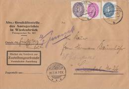 DR Brief Zustellungsurkunde Mif Minr.121,125,130 Wiedenbrück 26.7.34 - Dienstpost